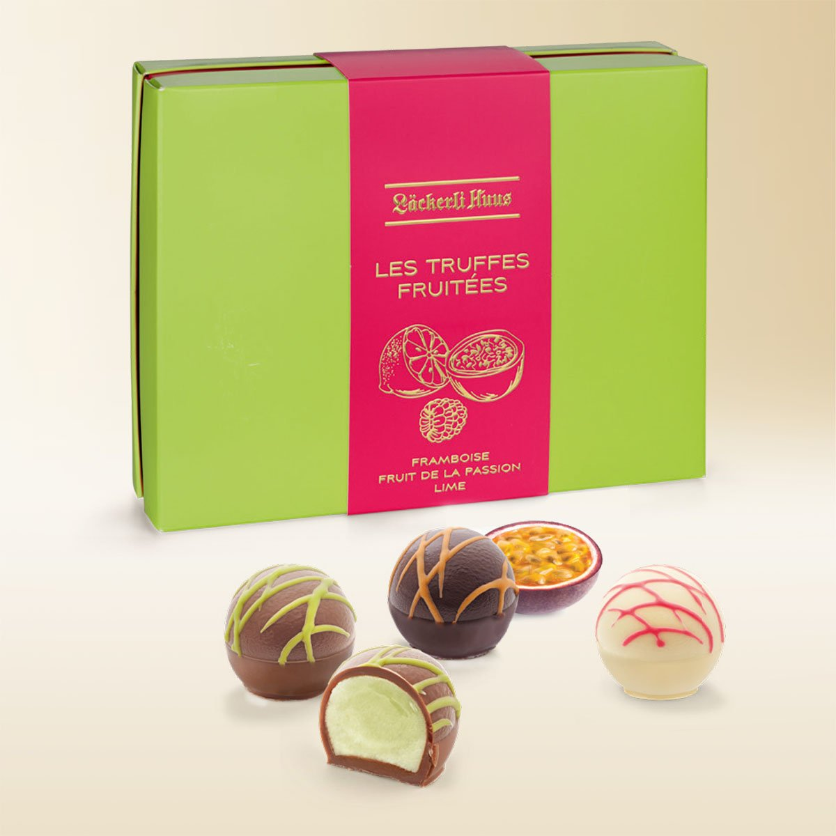 Les Truffes fruitées lime, raspberry and passion fruit 135g