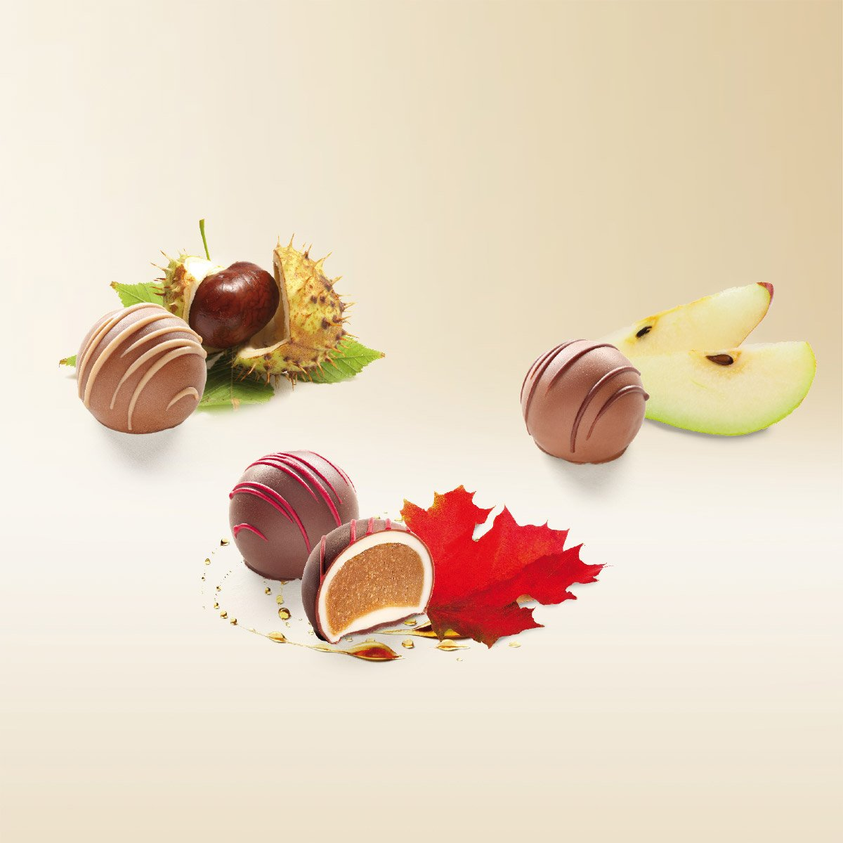 Les Truffes assorties maple, chestnut and pear 135g