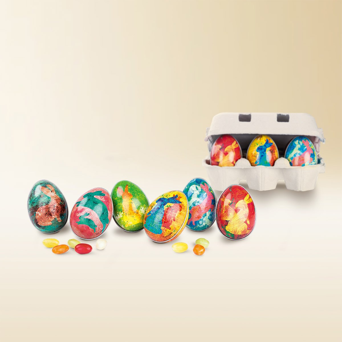 Artistic tin Easter egg filled with colourful small sugar eggs 150g