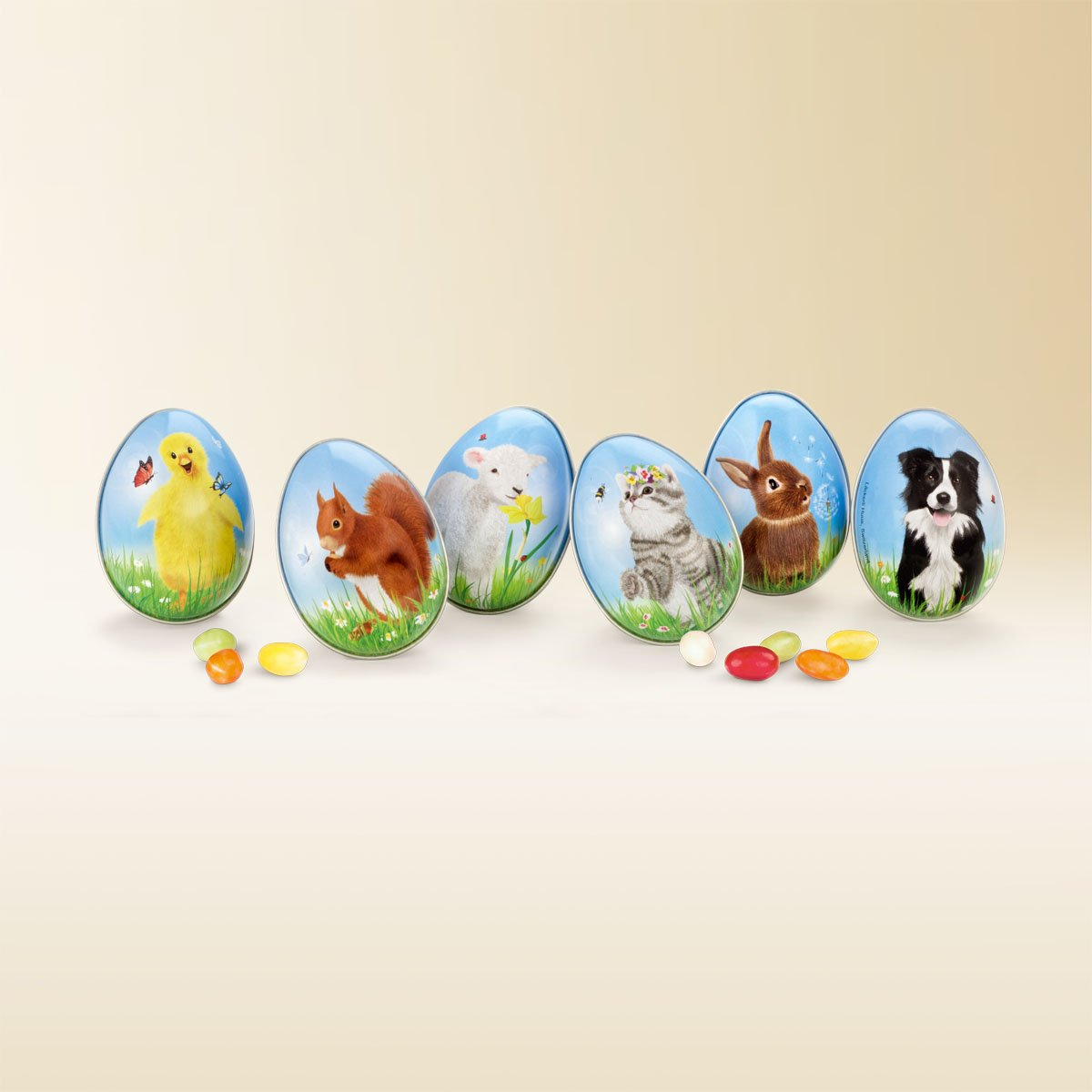 Ornate tin Easter eggs 150g