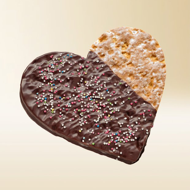 Läckerli heart, chocolate-coated 100g