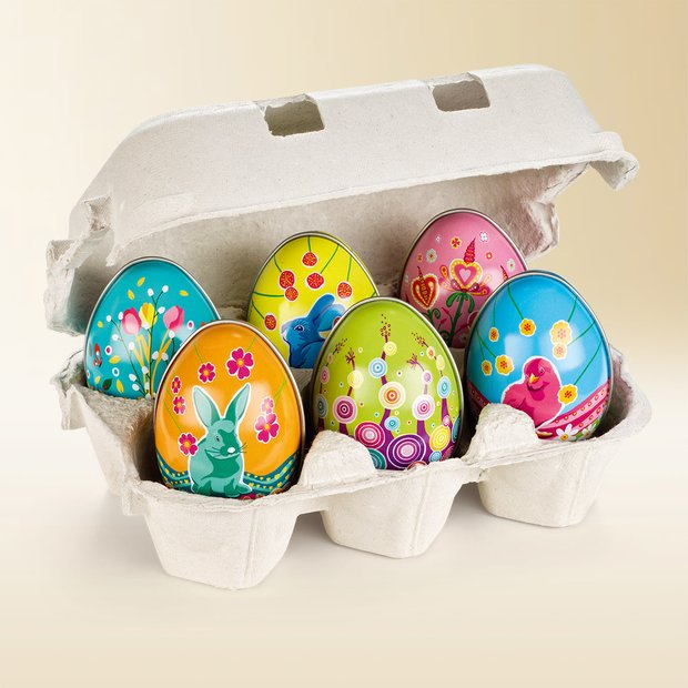 Artistic tin Easter eggs, filled with colourful sugar eggs 150g