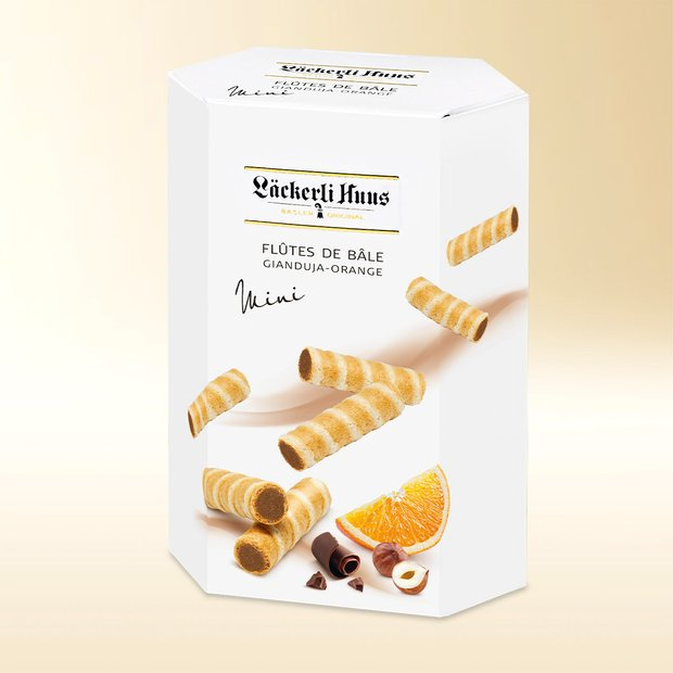 Flûtes de Bâle Mini, gianduja and orange, 155g